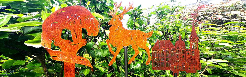 Banner rostige Gartenstecker